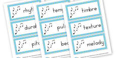 Music Vocabulary Cards