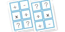 Maths Symbols Cards
