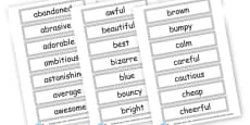 Adjectives Word Cards