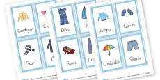 Clothes Word Cards