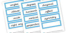Angles and Symmetry Word Cards