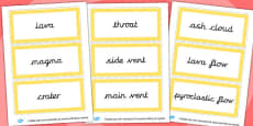 Yellow Volcano Vocabulary Word Cards