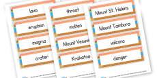 Volcanoes Word Cards