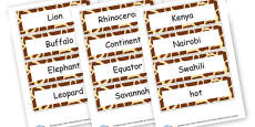 Kenya Words Cards