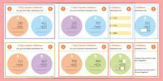 3 Digit Number Addition Maths Challenge Cards