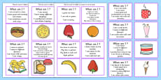 'What Am I?' Guessing Game Cards Food Themed