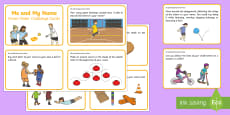 KS1 Me and My Name Gross Motor Skills Challenge Cards