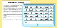 Phase 2 High Frequency Words Counters Barrier Game Activity Sheet