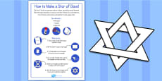 Fold and Cut Star of David Paper Activity