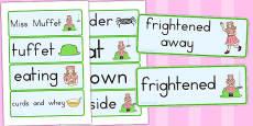Little Miss Muffet Word Cards (Australia)