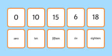 Number Snap Numerals and Number Words 0-20