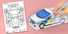 3D Police Car Paper Model Activity