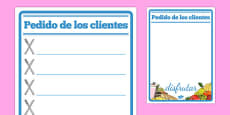 Restaurant Role Play Notepad Spanish