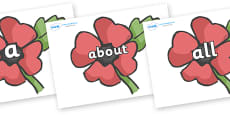 100 High Frequency Words on Poppies