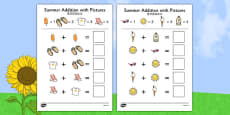 Summer Themed Addition with Pictures Activity Sheets Chinese Mandarin Translation