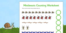 Minibeasts Counting Activity Sheet (Detailed Version)