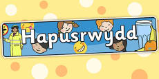 Happiness Themed Banner Welsh