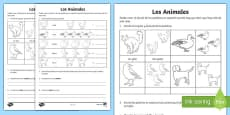 Animals Differentiated Activity Sheets Spanish