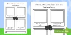 My Holiday Snapshots Writing Frame German