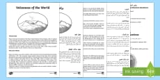 World Volcanoes Reading Comprehension Activity Arabic/English