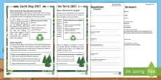 Earth Day Differentiated Reading Comprehension Activity English/Portuguese