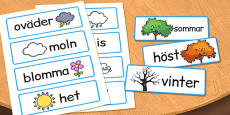 Swedish Seasons Word Cards
