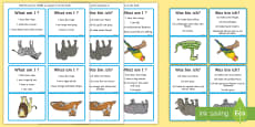 What Am I? Wild Animals Guessing Game Cards English/German