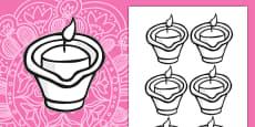 Diwali Colour-in Diva Lamps