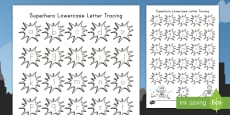 * NEW * Superheroes Lowercase Letters Tracing Activity Sheet