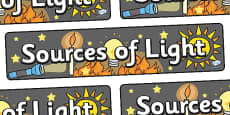 Sources Of Light Display Banner