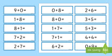 Number Bonds 8 and 9 Number Sentence Cards