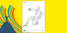 Rio 2016 Olympics Handball Colouring Sheets
