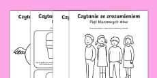 Reading Comprehension Five Key Words Activity Sheets Polish
