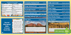 Sacred Aboriginal Sites across Australia Display Facts Posters