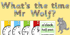 Ready Made Display Pack to Support Teaching on What's The Time, Mr Wolf?