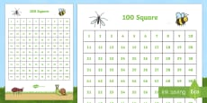 Minibeast Themed 100 Number Square