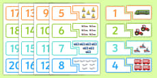 Transport Themed Counting Matching Puzzle