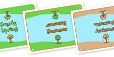 Editable Class Group Table Signs (Four Seasons)