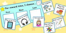 'For Reward Time I Choose...' Choice Board