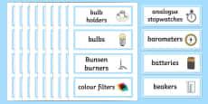 Science Cupboard Labels