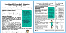 Foundation PE (Reception) - Balancing Home Learning Challenge Sheet