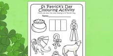 St Patricks Day Colouring Activity Sheet