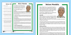 KS2 Nelson Mandela Differentiated Reading Comprehension Activity