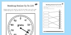 Reading a Scale Up to 100 Work Sheet