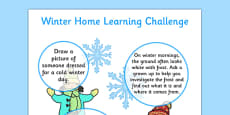 EYFS Winter Home Learning Challenge Sheet Nursery FS1