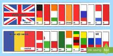 Mesaje de bun venit pe steagurile diferitelor țări Planșe