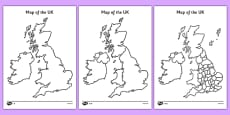 Blank UK Map Activity Sheet