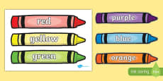 Colour Words on Crayons