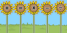 Maths Symbols on Sunflowers