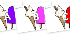A-Z Alphabet on Ice Cream and Lollies